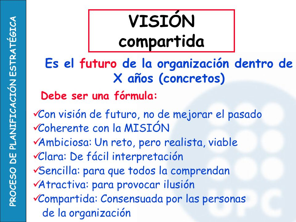 PROCESO DE PLANIFICACIÓN ESTRATÉGICA Debe ser una fórmula: Con visión de futuro, no de mejorar el pasado Coherente con la MISIÓN Ambiciosa: Un reto, p