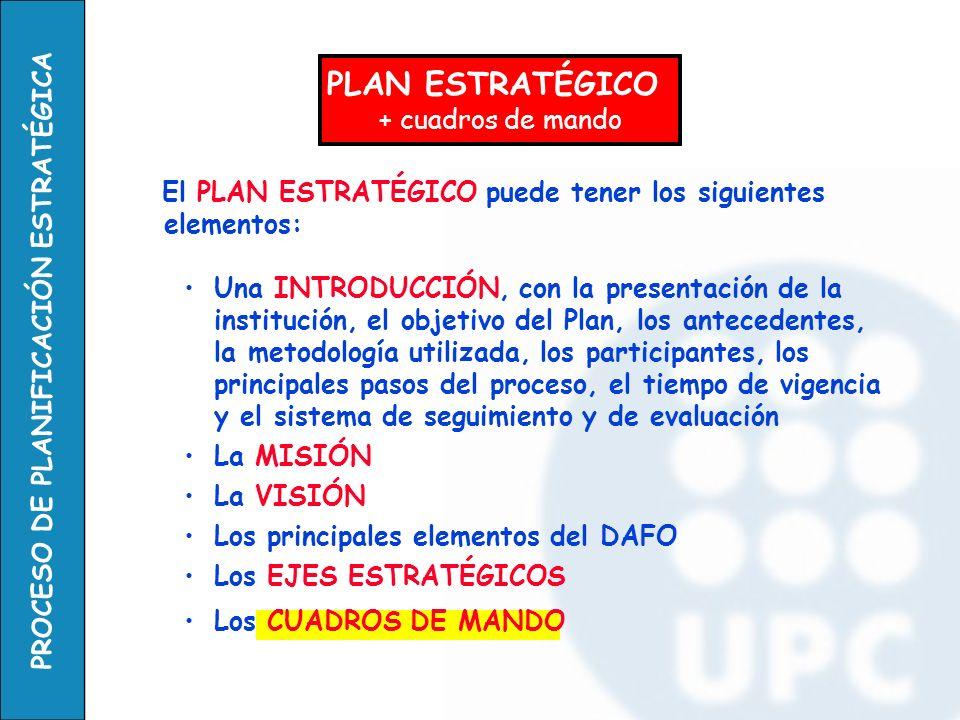 El PLAN ESTRATÉGICO puede tener los siguientes elementos: Una INTRODUCCIÓN, con la presentación de la institución, el objetivo del Plan, los anteceden