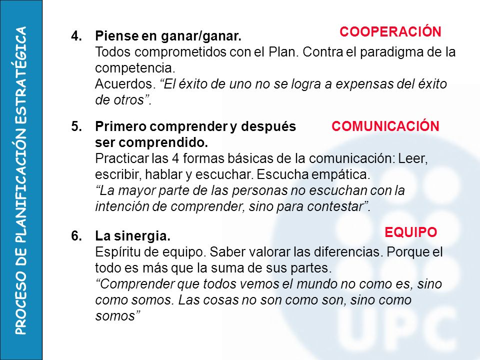 PROCESO DE PLANIFICACIÓN ESTRATÉGICA 4.Piense en ganar/ganar. Todos comprometidos con el Plan. Contra el paradigma de la competencia. Acuerdos. El éxi