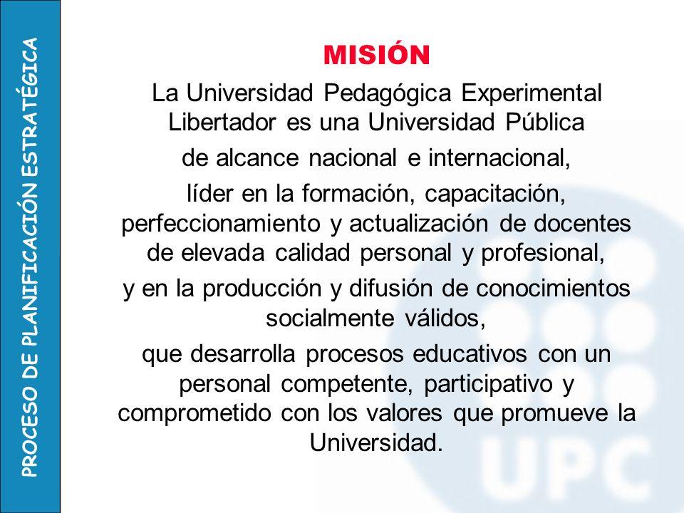 PROCESO DE PLANIFICACIÓN ESTRATÉGICA MISIÓN La misión es la razón de ser de la universidad, reflejo de la realidad actual pero al mismo tiempo integradora del posicionamiento deseado para el futuro.