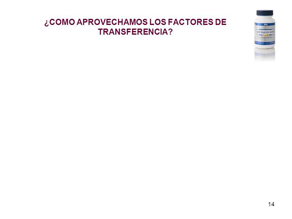14 ¿COMO APROVECHAMOS LOS FACTORES DE TRANSFERENCIA