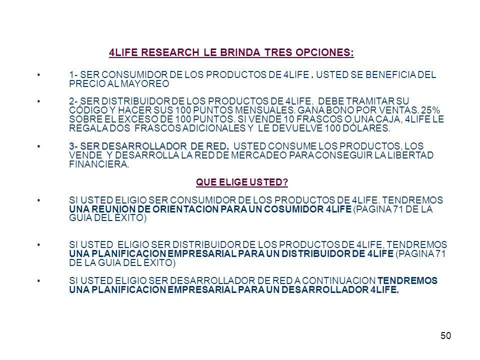 50 4LIFE RESEARCH LE BRINDA TRES OPCIONES: 1- SER CONSUMIDOR DE LOS PRODUCTOS DE 4LIFE.