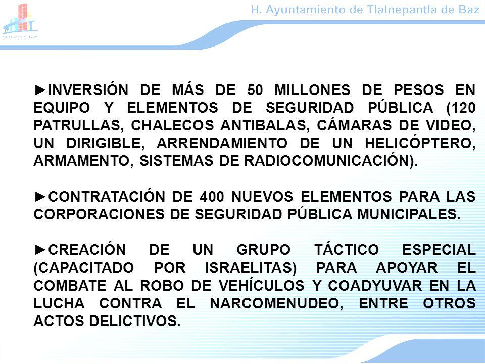 INVERSIÓN DE MÁS DE 50 MILLONES DE PESOS EN EQUIPO Y ELEMENTOS DE SEGURIDAD PÚBLICA (120 PATRULLAS, CHALECOS ANTIBALAS, CÁMARAS DE VIDEO, UN DIRIGIBLE, ARRENDAMIENTO DE UN HELICÓPTERO, ARMAMENTO, SISTEMAS DE RADIOCOMUNICACIÓN).