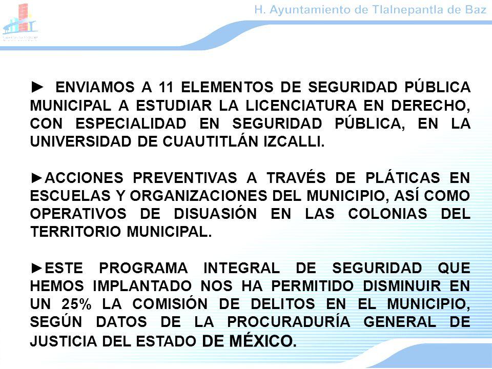 ENVIAMOS A 11 ELEMENTOS DE SEGURIDAD PÚBLICA MUNICIPAL A ESTUDIAR LA LICENCIATURA EN DERECHO, CON ESPECIALIDAD EN SEGURIDAD PÚBLICA, EN LA UNIVERSIDAD DE CUAUTITLÁN IZCALLI.