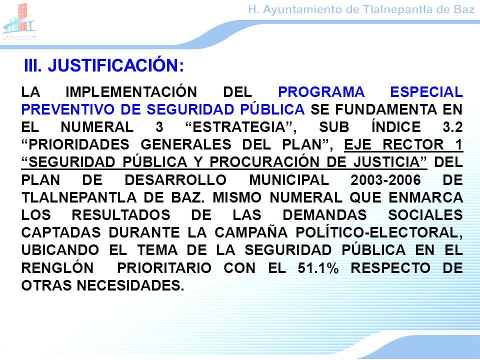 III. JUSTIFICACIÓN: LA IMPLEMENTACIÓN DEL PROGRAMA ESPECIAL PREVENTIVO DE SEGURIDAD PÚBLICA SE FUNDAMENTA EN EL NUMERAL 3 ESTRATEGIA, SUB ÍNDICE 3.2 P