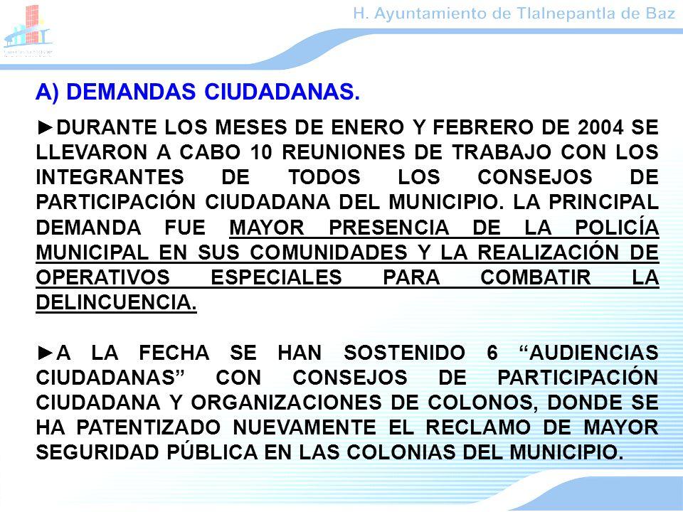 A) DEMANDAS CIUDADANAS. DURANTE LOS MESES DE ENERO Y FEBRERO DE 2004 SE LLEVARON A CABO 10 REUNIONES DE TRABAJO CON LOS INTEGRANTES DE TODOS LOS CONSE