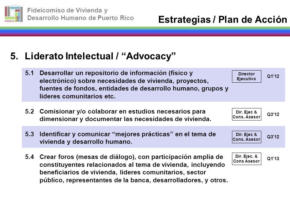 Fideicomiso de Vivienda y Desarrollo Humano de Puerto Rico 5.Liderato Intelectual / Advocacy 5.1Desarrollar un repositorio de información (físico y el
