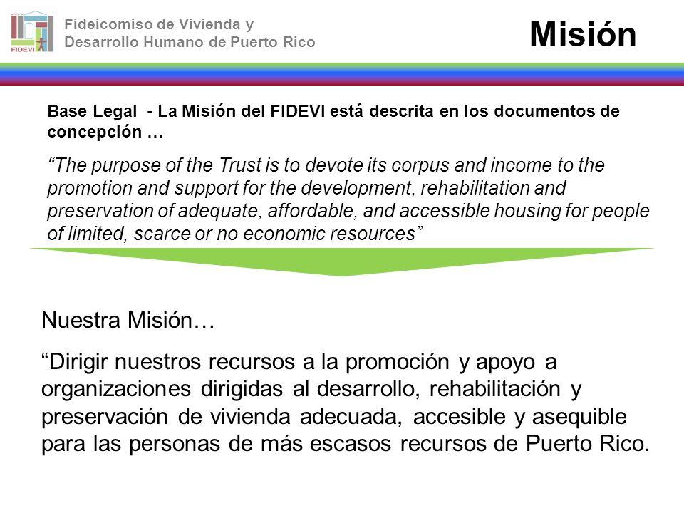 Fideicomiso de Vivienda y Desarrollo Humano de Puerto Rico Misión Base Legal - La Misión del FIDEVI está descrita en los documentos de concepción … Th