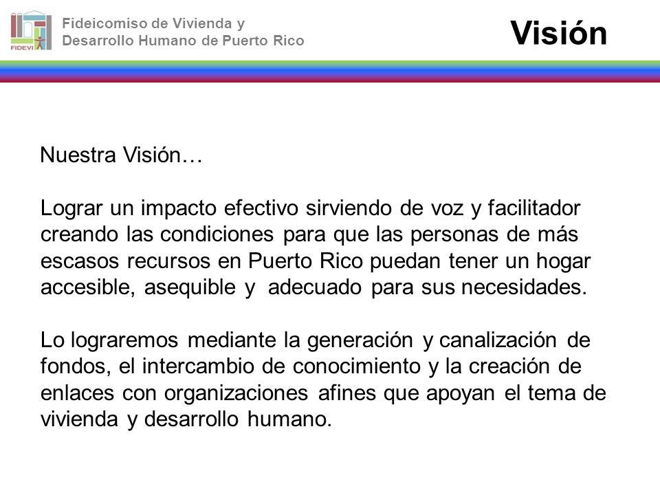 Fideicomiso de Vivienda y Desarrollo Humano de Puerto Rico Visión Nuestra Visión… Lograr un impacto efectivo sirviendo de voz y facilitador creando la