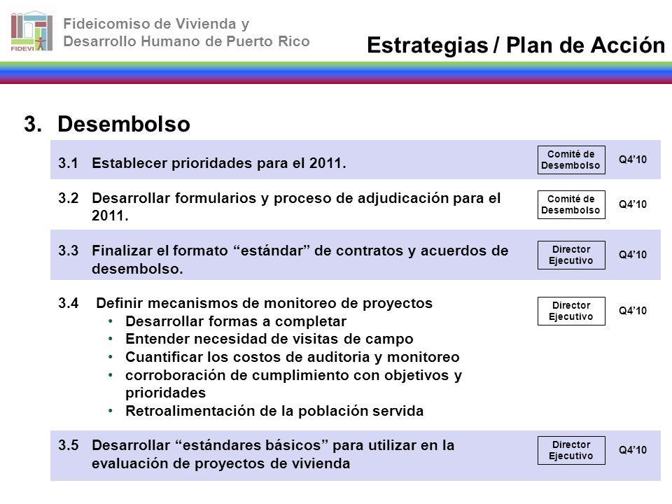 Fideicomiso de Vivienda y Desarrollo Humano de Puerto Rico 3.Desembolso 3.1Establecer prioridades para el 2011. 3.2Desarrollar formularios y proceso d