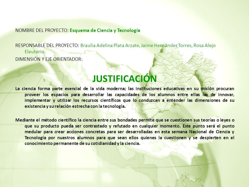 NOMBRE DEL PROYECTO: Esquema de Ciencia y Tecnología RESPONSABLE DEL PROYECTO: Braulia Adelina Plata Arzate, Jaime Hernández Torres, Rosa Alejo Eleuterio.
