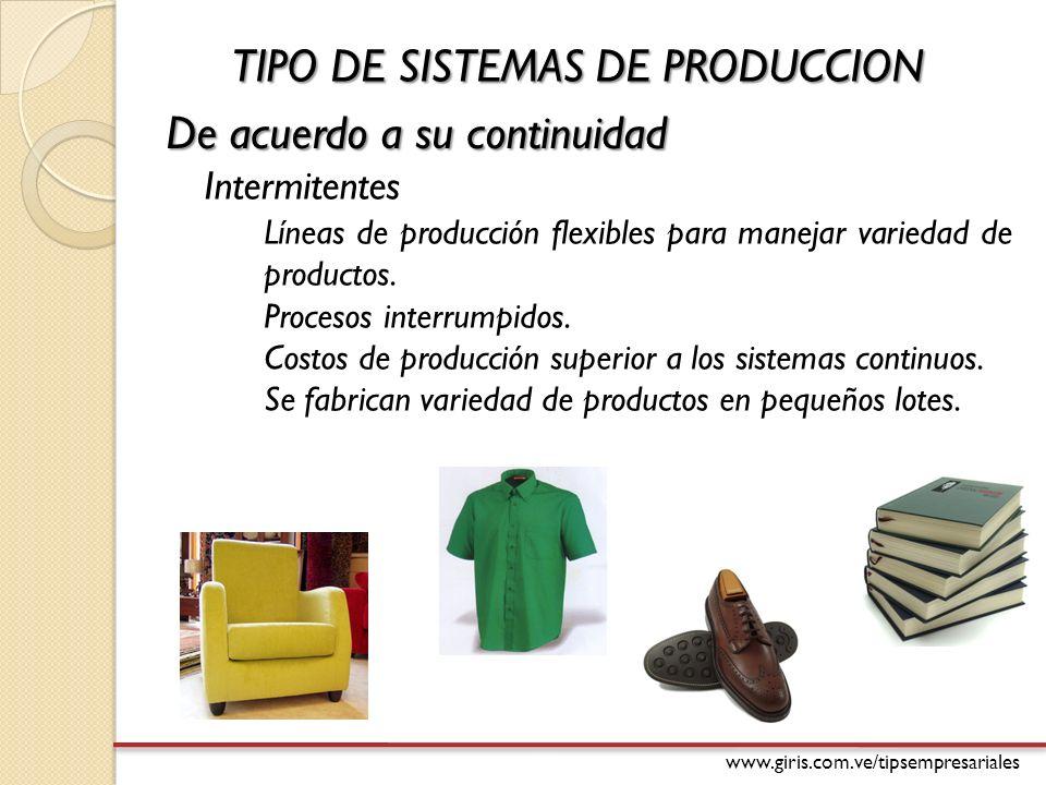 www.giris.com.ve/tipsempresariales De acuerdo a su continuidad Líneas de producción flexibles para manejar variedad de productos.