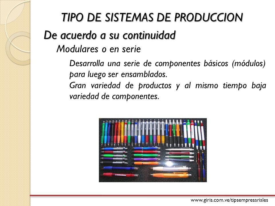 www.giris.com.ve/tipsempresariales De acuerdo a su continuidad Desarrolla una serie de componentes básicos (módulos) para luego ser ensamblados.