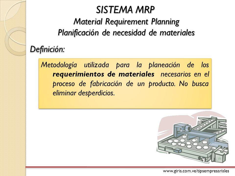 www.giris.com.ve/tipsempresariales SISTEMA MRP Material Requirement Planning Planificación de necesidad de materiales Metodología utilizada para la planeación de los requerimientos de materiales necesarios en el proceso de fabricación de un producto.