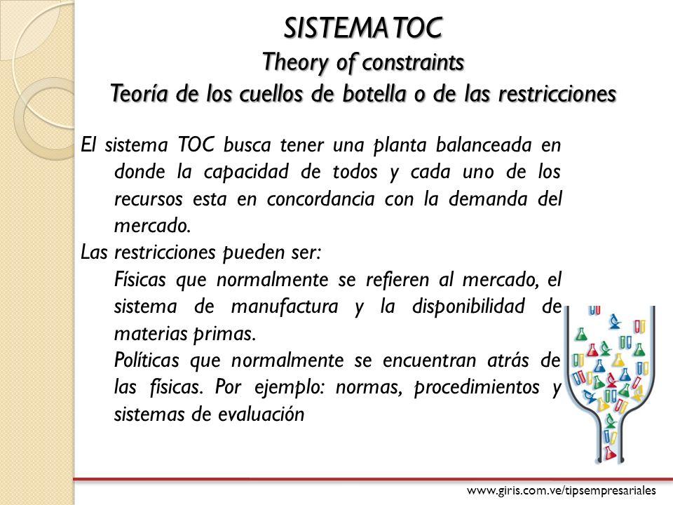 www.giris.com.ve/tipsempresariales SISTEMA TOC Theory of constraints Teoría de los cuellos de botella o de las restricciones El sistema TOC busca tener una planta balanceada en donde la capacidad de todos y cada uno de los recursos esta en concordancia con la demanda del mercado.