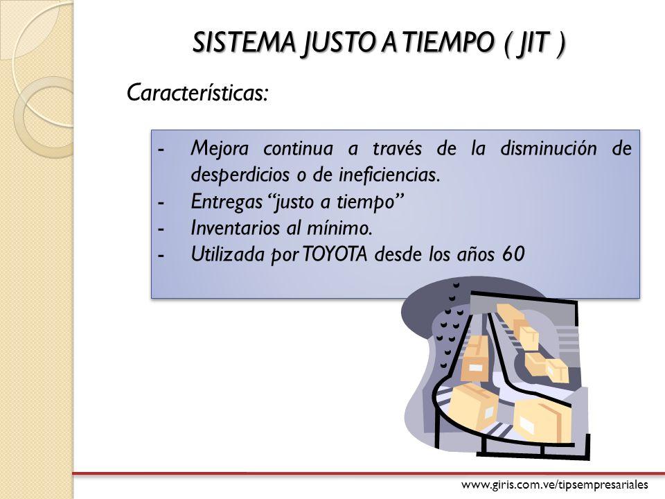 www.giris.com.ve/tipsempresariales SISTEMA JUSTO A TIEMPO ( JIT ) -Mejora continua a través de la disminución de desperdicios o de ineficiencias.