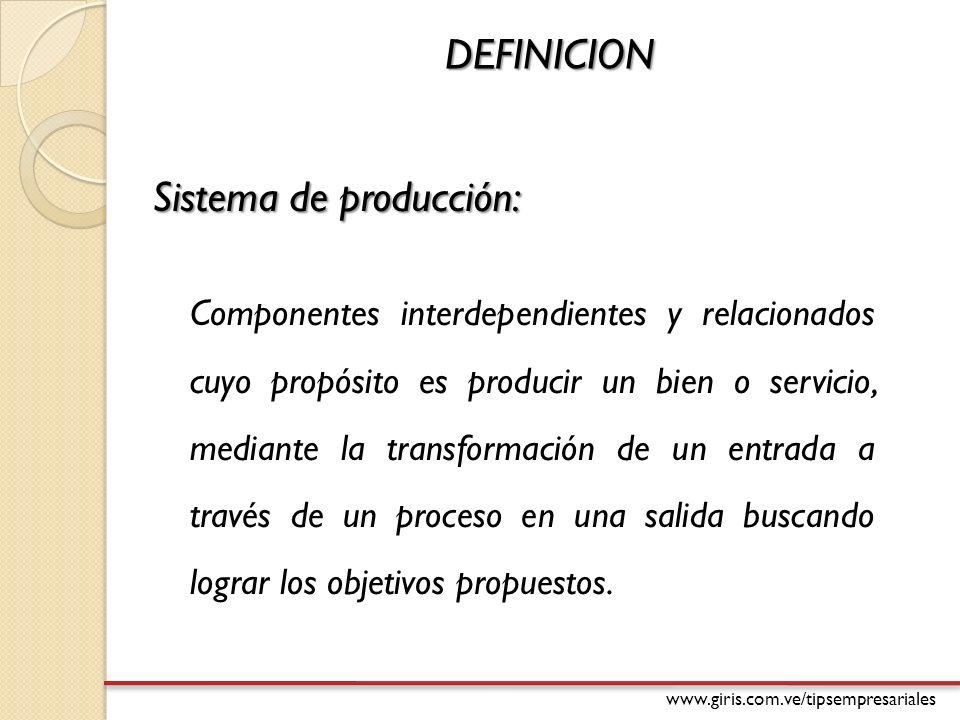 www.giris.com.ve/tipsempresariales DEFINICION Sistema de producción: Componentes interdependientes y relacionados cuyo propósito es producir un bien o servicio, mediante la transformación de un entrada a través de un proceso en una salida buscando lograr los objetivos propuestos.