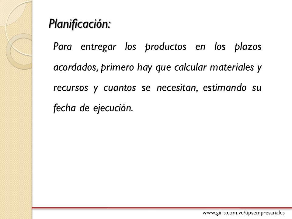 www.giris.com.ve/tipsempresariales Datos para Planificación de Capacidad: Producto P1 P2 S11 S12