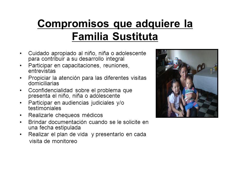 Compromisos que adquiere la Familia Sustituta Cuidado apropiado al niño, niña o adolescente para contribuir a su desarrollo integral Participar en cap