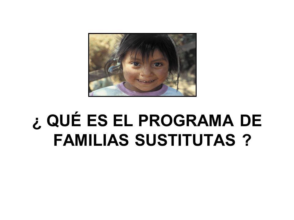 ¿ QUÉ ES EL PROGRAMA DE FAMILIAS SUSTITUTAS ?