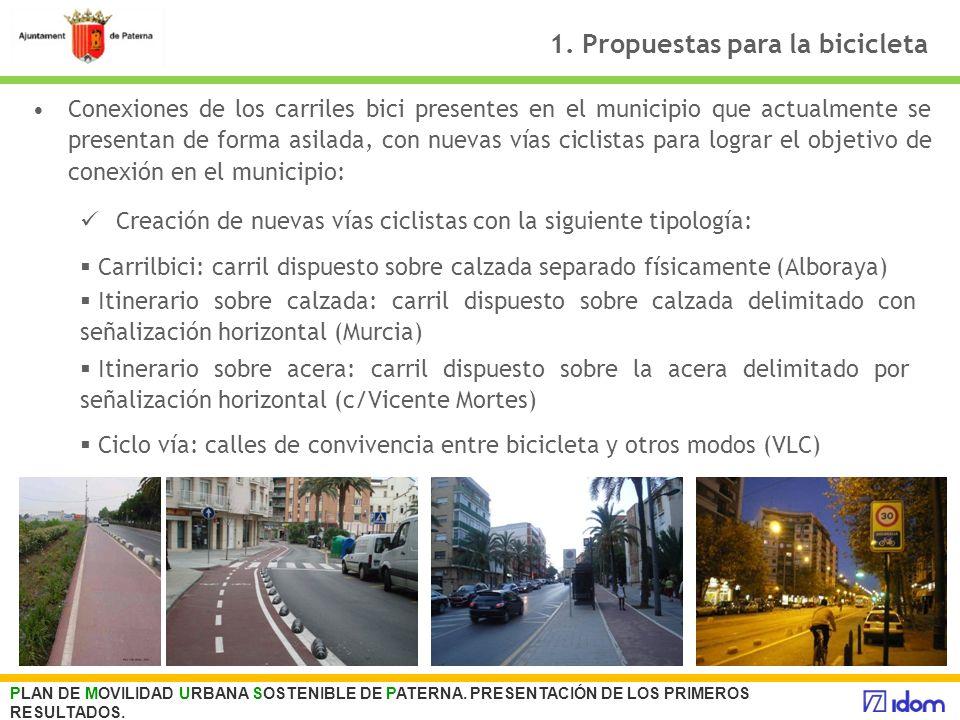 1. Propuestas para la bicicleta Conexiones de los carriles bici presentes en el municipio que actualmente se presentan de forma asilada, con nuevas ví