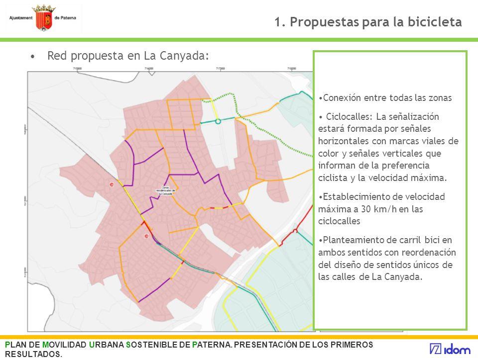 1. Propuestas para la bicicleta PLAN DE MOVILIDAD URBANA SOSTENIBLE DE PATERNA. PRESENTACIÓN DE LOS PRIMEROS RESULTADOS. Carrilbici: 10.4 km Conexión