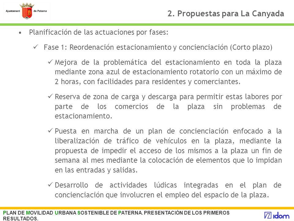 2. Propuestas para La Canyada Planificación de las actuaciones por fases: Fase 1: Reordenación estacionamiento y concienciación (Corto plazo) Mejora d