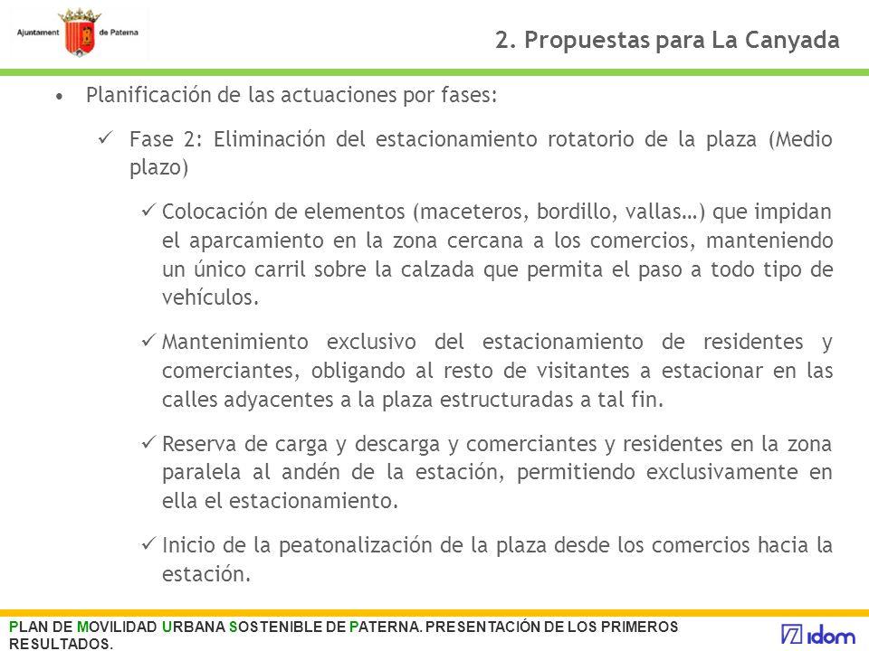 2. Propuestas para La Canyada Planificación de las actuaciones por fases: Fase 2: Eliminación del estacionamiento rotatorio de la plaza (Medio plazo)