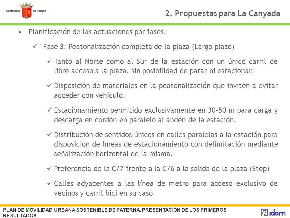 2. Propuestas para La Canyada Planificación de las actuaciones por fases: Fase 3: Peatonalización completa de la plaza (Largo plazo) Tanto al Norte co