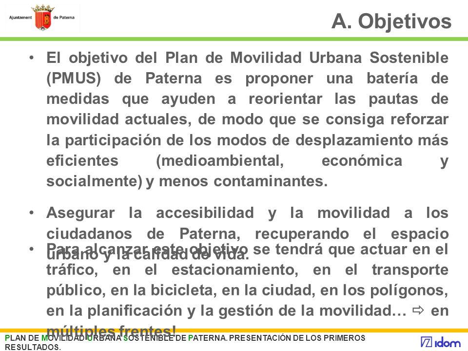 A. Objetivos El objetivo del Plan de Movilidad Urbana Sostenible (PMUS) de Paterna es proponer una batería de medidas que ayuden a reorientar las paut