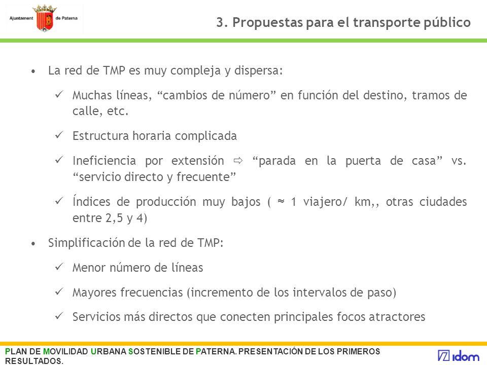 3. Propuestas para el transporte público La red de TMP es muy compleja y dispersa: Muchas líneas, cambios de número en función del destino, tramos de