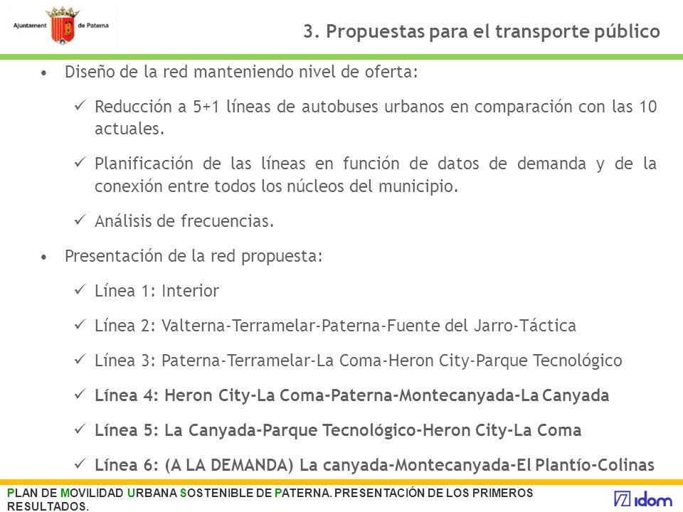 3. Propuestas para el transporte público Diseño de la red manteniendo nivel de oferta: Reducción a 5+1 líneas de autobuses urbanos en comparación con