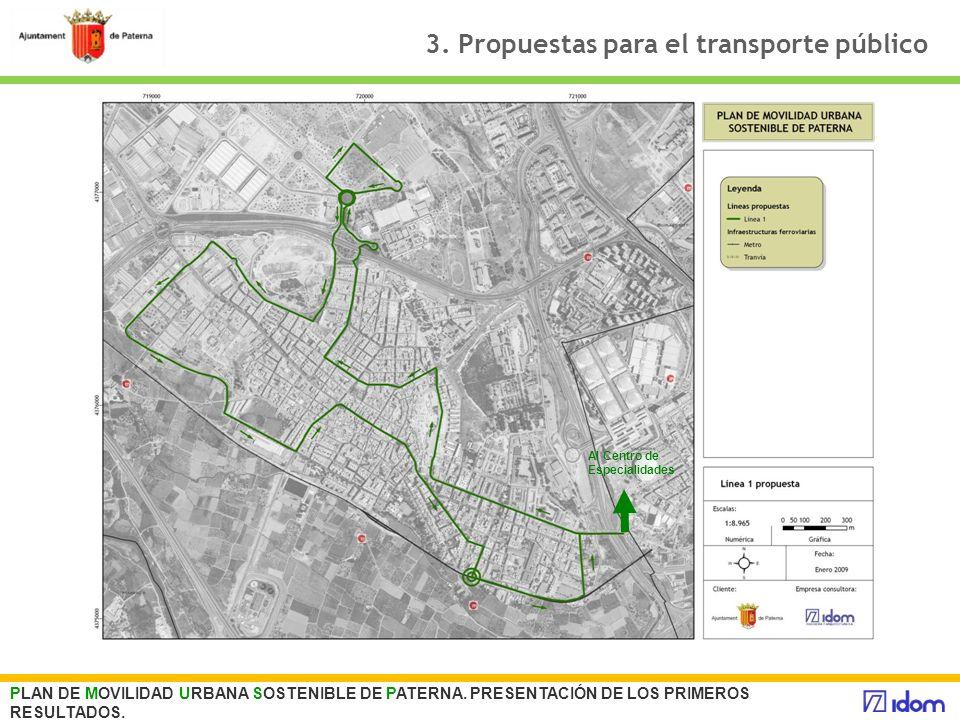 3. Propuestas para el transporte público PLAN DE MOVILIDAD URBANA SOSTENIBLE DE PATERNA. PRESENTACIÓN DE LOS PRIMEROS RESULTADOS. Al Centro de Especia