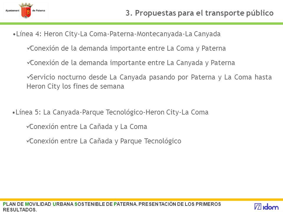 3. Propuestas para el transporte público PLAN DE MOVILIDAD URBANA SOSTENIBLE DE PATERNA. PRESENTACIÓN DE LOS PRIMEROS RESULTADOS. Línea 4: Heron City-