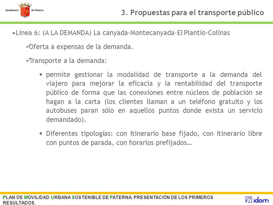 3. Propuestas para el transporte público PLAN DE MOVILIDAD URBANA SOSTENIBLE DE PATERNA. PRESENTACIÓN DE LOS PRIMEROS RESULTADOS. Línea 6: (A LA DEMAN