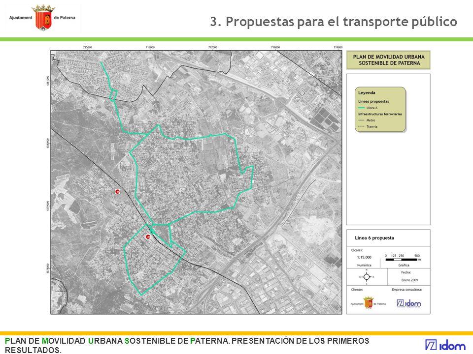 3. Propuestas para el transporte público PLAN DE MOVILIDAD URBANA SOSTENIBLE DE PATERNA. PRESENTACIÓN DE LOS PRIMEROS RESULTADOS.
