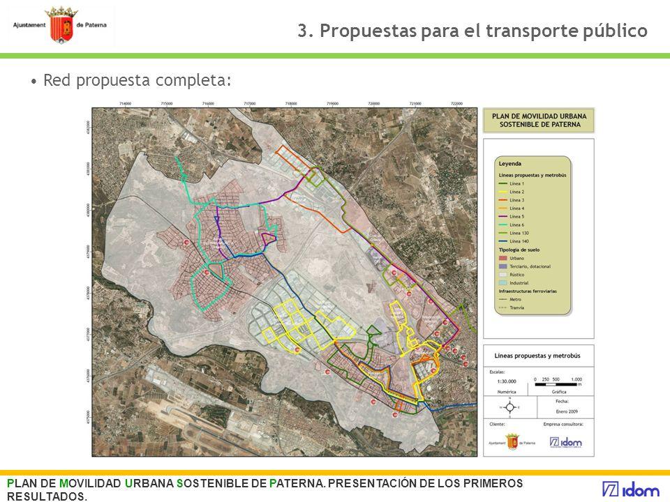 3. Propuestas para el transporte público PLAN DE MOVILIDAD URBANA SOSTENIBLE DE PATERNA. PRESENTACIÓN DE LOS PRIMEROS RESULTADOS. Red propuesta comple