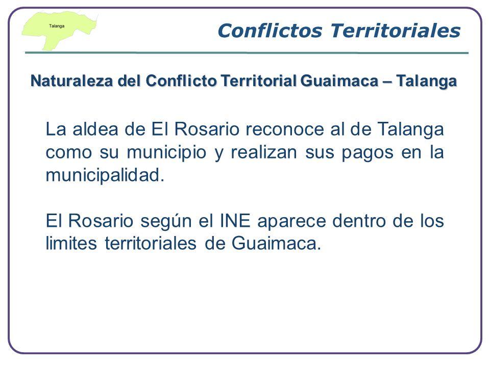 Conflictos Territoriales Naturaleza del Conflicto Territorial Guaimaca – Talanga La aldea de El Rosario reconoce al de Talanga como su municipio y rea
