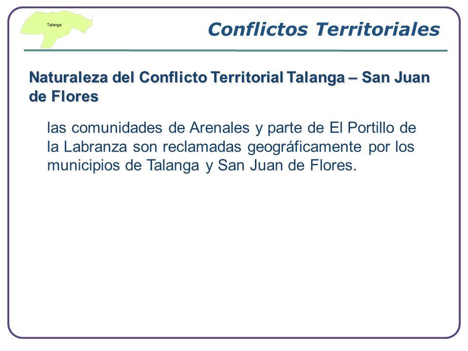 Conflictos Territoriales Naturaleza del Conflicto Territorial Talanga – San Juan de Flores las comunidades de Arenales y parte de El Portillo de la La