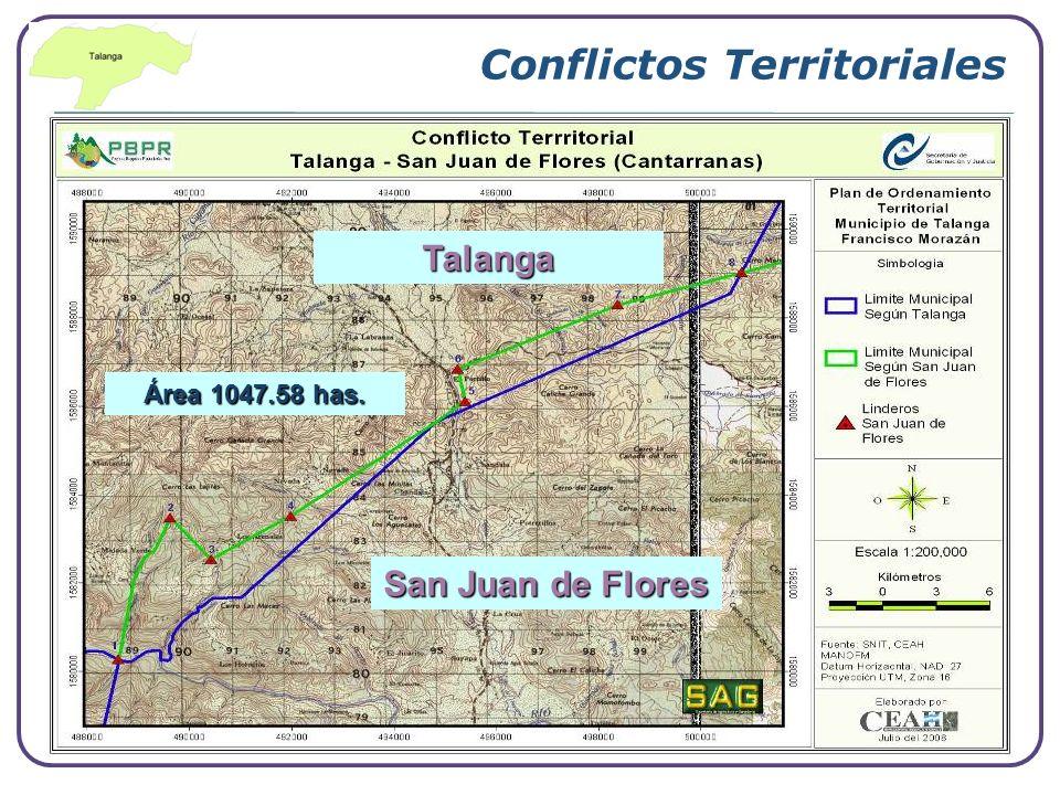 Conflictos Territoriales Área 1047.58 has. Talanga San Juan de Flores