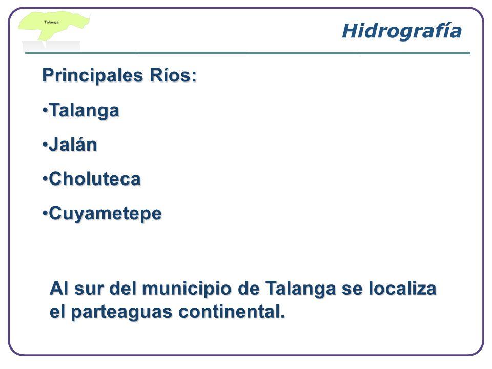 Principales Ríos: TalangaTalanga JalánJalán CholutecaCholuteca CuyametepeCuyametepe Hidrografía Al sur del municipio de Talanga se localiza el parteag