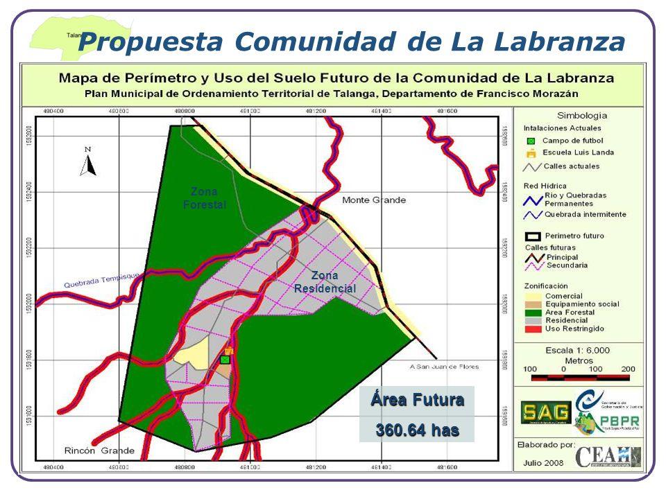 Company Logo www.themegallery.com Zona Forestal Zona Residencial Propuesta Comunidad de La Labranza Área Futura 360.64 has