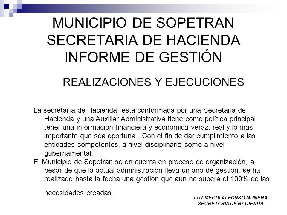 MUNICIPIO DE SOPETRAN SECRETARIA DE HACIENDA INFORME DE GESTIÓN REALIZACIONES Y EJECUCIONES La secretaría de Hacienda esta conformada por una Secretar