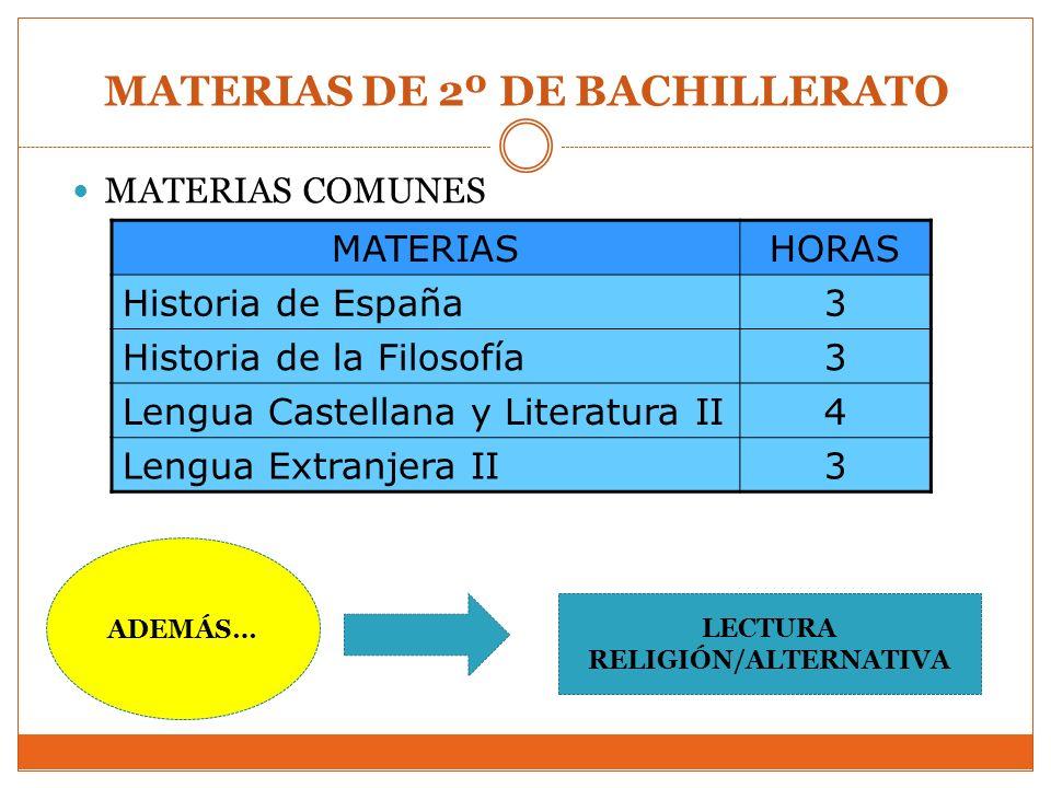 MATERIAS DE 2º DE BACHILLERATO MATERIAS COMUNES MATERIASHORAS Historia de España3 Historia de la Filosofía3 Lengua Castellana y Literatura II4 Lengua