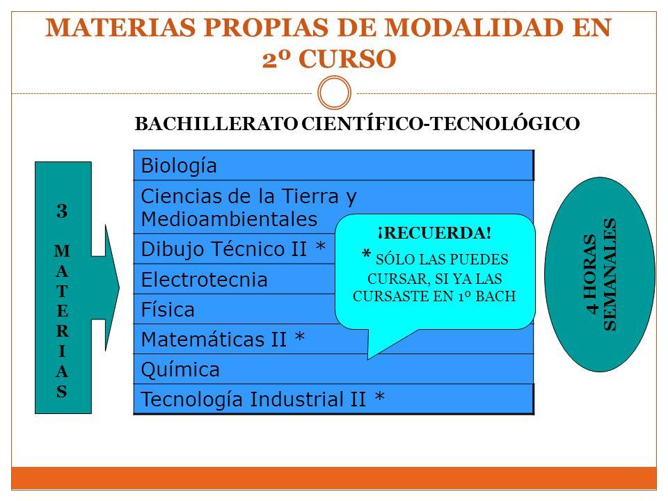 MATERIAS PROPIAS DE MODALIDAD EN 2º CURSO BACHILLERATO CIENTÍFICO-TECNOLÓGICO Biología Ciencias de la Tierra y Medioambientales Dibujo Técnico II * El
