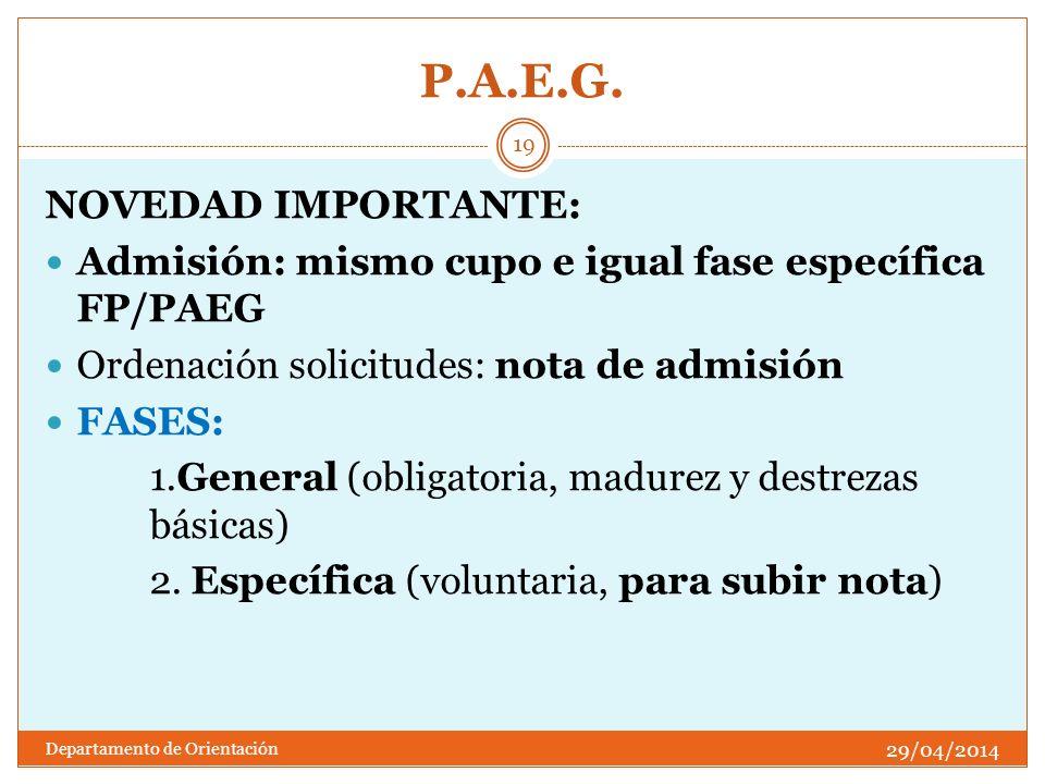P.A.E.G. NOVEDAD IMPORTANTE: Admisión: mismo cupo e igual fase específica FP/PAEG Ordenación solicitudes: nota de admisión FASES: 1.General (obligator