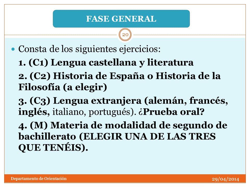 Consta de los siguientes ejercicios: 1. (C1) Lengua castellana y literatura 2. (C2) Historia de España o Historia de la Filosofía (a elegir) 3. (C3) L
