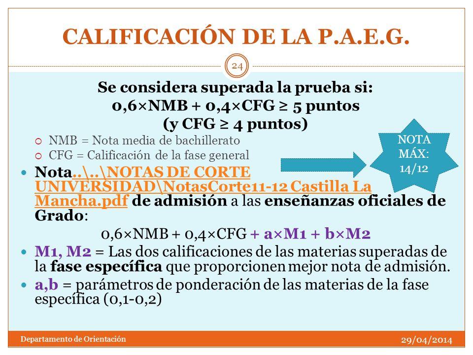 CALIFICACIÓN DE LA P.A.E.G. Se considera superada la prueba si: 0,6×NMB + 0,4×CFG 5 puntos (y CFG 4 puntos) NMB = Nota media de bachillerato CFG = Cal
