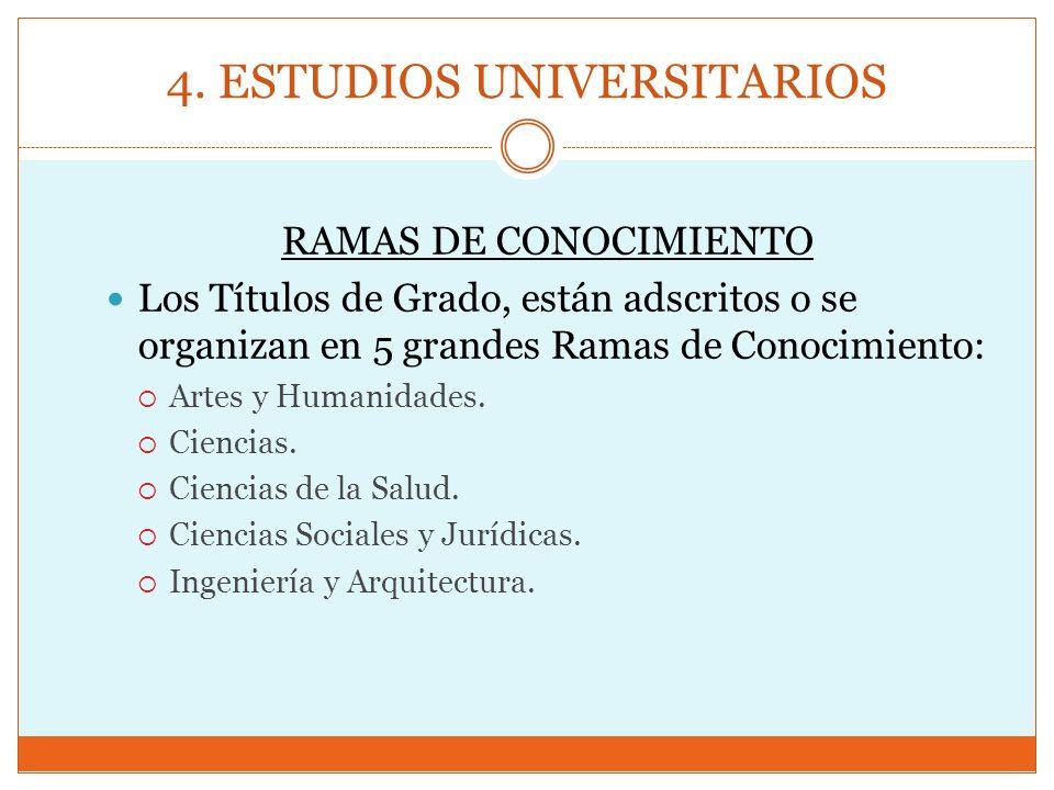 4. ESTUDIOS UNIVERSITARIOS RAMAS DE CONOCIMIENTO Los Títulos de Grado, están adscritos o se organizan en 5 grandes Ramas de Conocimiento: Artes y Huma