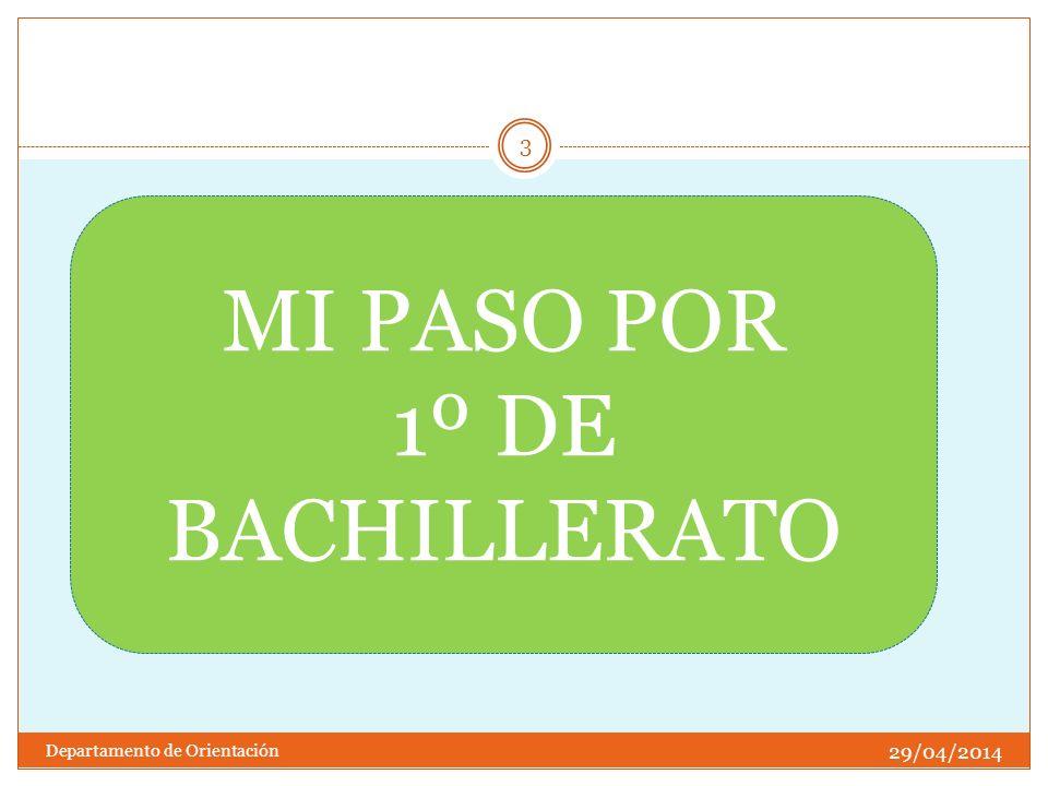 29/04/2014 Departamento de Orientación 3 MI PASO POR 1º DE BACHILLERATO